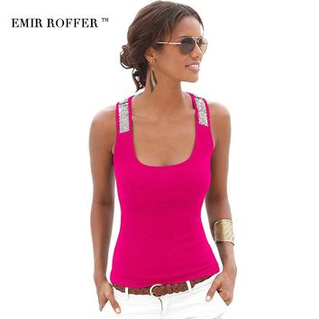 EMIR ROFFER 2018 Summer Fashion Sequin Tops Tanks Camis Sexy Square Collar Sleeveless Casual Slim Women's Vest Clothing