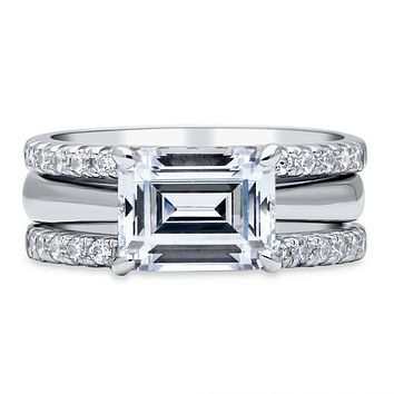 A Flawless 2.5CT Emerald Cut Solitaire Russian Lab Diamond Bridal Stacking Set