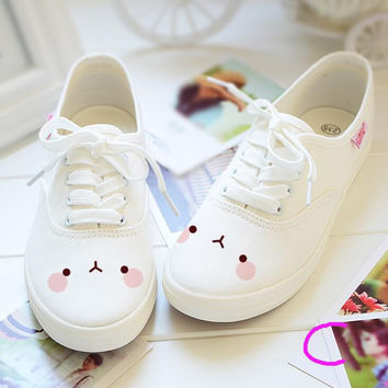 Women Girl Freehand Cute Rabbit Casual Canvas Shoes