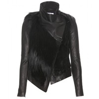 FUR ACCENTED LEATHER JACKET