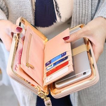 Large Capacity Women Bowknot Wallets Bow Tie Pocket Long Section Zipper Purse Phone Card Holder Clutch Wristlet