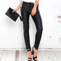 Fashion 2017 Trending Fashion Leather Black Slim Fit Trousers Pants _ 11795