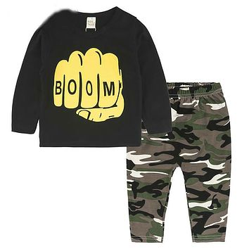 New Baby Clothes Newborn Infant Toddler Baby Boys Girls Fitted Clothes T-Shirts Tops + Camouflage Pants