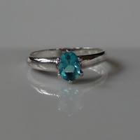 Blue Topaz Cubic Zirconia 925 Sterling Silver Ring