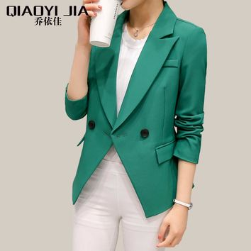 QIAOYI JIA Women blazers and jacket 2017 Fashion Long Sleeve Small Jacket Double Breasted Work Suit Pink/Green Blaser Female XXL