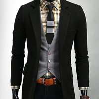 Lapel Collar Pockets Design Long Sleeve Blazer