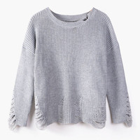 Gray Ripped Accent Sweater