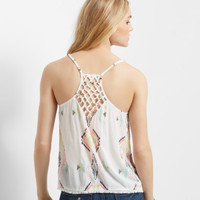 Sheer Southwestern Print Knotted-Back Tank