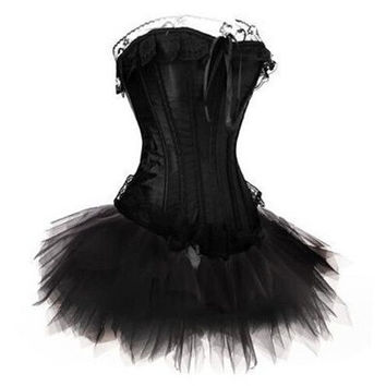 Sexy Womens Black Lace Corset Top with Tutu Skirt & G-String Set Showgirl Clubwear Body Shapers steampunk Bustier Plus Size S-6XL = 1958538948