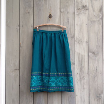 Vintage skirt | Teal wool skirt with colorful embroidery