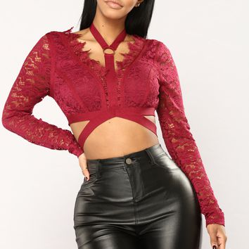Strapped In Love Lace Choker Top - Merlot