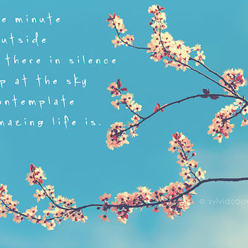 Nature photography, landscape, tree blossoms, typography,quote,spring home decor,wall art, pink, aqua