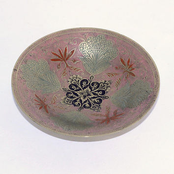 Small Painted Brass Bowl | Decorative Brass Bowl Wide Shallow | Muted Colors: Pink Green Black Gold Orange