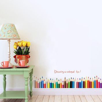 3D DIy Creative colored pencil drawing Skirting Window stickers home decor living room Baseboard wall stickers PVC home decor