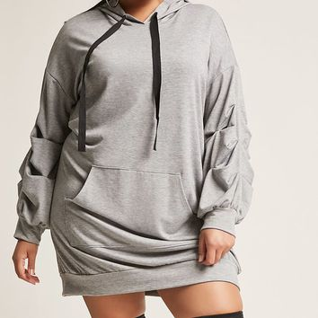 Plus Size Heathered Hooded Dress