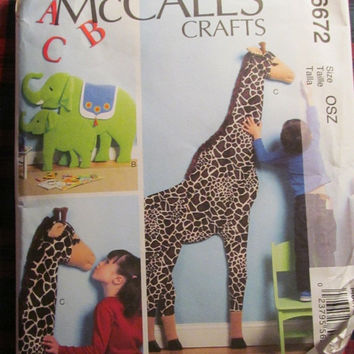 SALE Uncut McCall's sewing Pattern, 6672! Stuffed Animal Pattern/Toy Giraffe/Elephant Stuffed Toys, Kids/Children Play Toy, Arts and Craffts