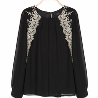'The Katina' White Lace Embroidered Long Sleeve Chiffon Blouse