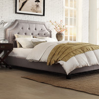 INSPIRE Q Grace Grey Linen Button Tufted Arched Bridge Upholstered Bed | Overstock.com Shopping - The Best Deals on Beds