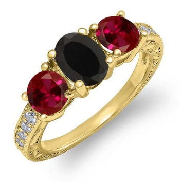 2.12 Ct Oval Black Onyx Red Created Ruby 18K Yellow Gold Plated Silver Ring