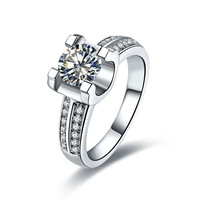 Genuine C Brand Ring Paved Micro 2Lines Solid 14K White Gold Oxhead 1CT Synthetic Diamond Ring Engagement Female14Karat Jewelry