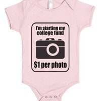 College Fund $1 Per Photo - Baby Onsie-Light Pink Baby Onesuit 00