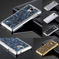 Note 4 Phone Case Bling Artificial Diamond Back Cover Electroplating Frame Luxury Design For Samsung Galaxy Note 4 N9100 Case