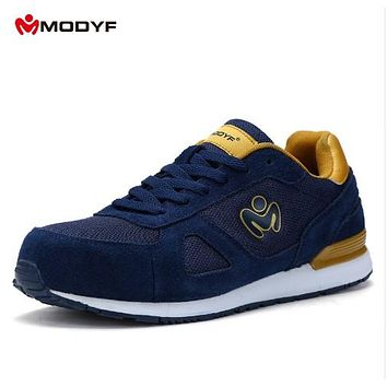 Modyf men's Summer Spring steel toe cap work safety shoes casual breathable outdoor boots skateboard shoes(one size smaller)