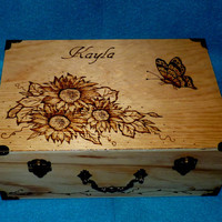 Decorative Wood Wedding Box Wood Burned Wedding Box Wedding Keepsake Box Sunflower Rustic Wedding Memory Box Personalized Card Box