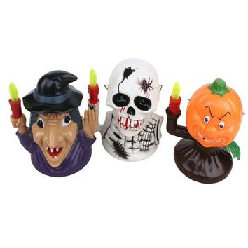 Halloween Pumpkin Witch Skeleton Small Ornament Decor with Ghost Shout and Light Halloween Desktop Figurines for Home Bar Hotel