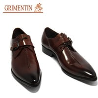 GRIMENTIN fashion Italian mens dress shoes with buckle black brown 2016 designer casual leather shoe men flats office business