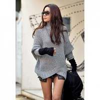 Slim Fit Stand Collar Stripes Batwing Sleeve Sweater For Women