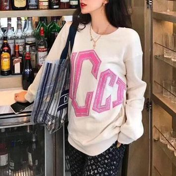 """""""Gucci"""" Women Fashion Rhinestone Embroidery Letter Long Sleeve Sweater Round Neck Casual Tops"""