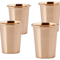 Solid Copper Flared Shot Mugs, 2 Oz, Set of 4, Moscow Mule Mugs