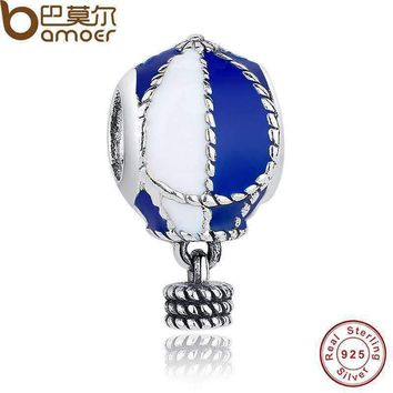925 Sterling Silver Up And Away Hot Air Balloon Charms Fit Bracelet DIY Blue & White Enamel Jewelry PAS172