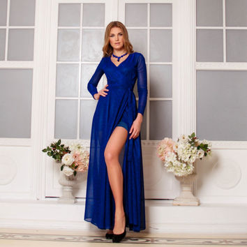 Blue Dress, Evening gowns, special occasion woman dress, Maxi dress, Formal Dress, Wrap Dress , Sexy Dress, Evening dress, long Sleeve dress