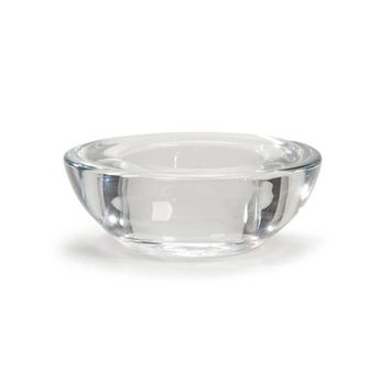 "Glass Tea Light Candle Holder in Clear with Rounded Bottom2.75"" Diameter"