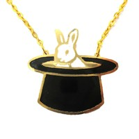 Bunny Rabbit in A Top Hat Shaped Animal Pendant Necklace   Limited Edition