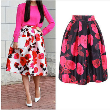 Rose Print Box Pleated Midi-skirt [6240900100]