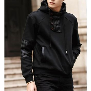Mens Street Style Hoodie with Faux Leather Details