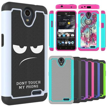 For ZTE Overture 3 Case, ZTE Prelude Plus (4G LTE) Case, ZTE Maven 3 Case Shock Absorption Hybrid Dual Layer Armor Defender Prot