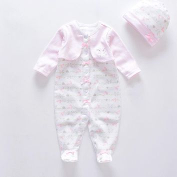2018 new 2pcs/set baby rompers +hat 100% cotton long sleeves overalls newborn baby girl clothes unisex clothing