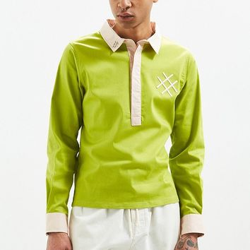 Lucid FC Green Colorblock Rugby Shirt | Urban Outfitters