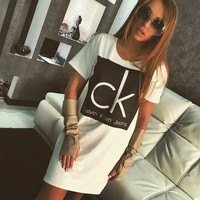 Letters Printed Shirt Dress in White