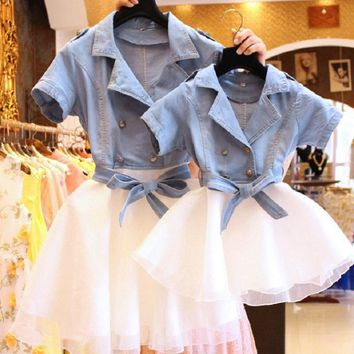 Trendy Mather Daughter Dresses Mommy And Me Matching Clothes 2 Two Pieces Set Tutu Jeans Dress Kid Girls Denim Jacket Coat Outfits AT_94_13