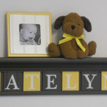 "Yellow and Brown Nursery Girl Wall Decor 30"" Chocolate Brown Shelf - Sign - 7 Wood Letters Custom for KATELYN"