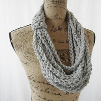 Ready To Ship Silver Heather Chain Infinity Crochet Scarf Cowl Loop Circle Accessory