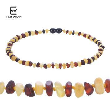 EAST WORLD Unpolished Amber Necklace Raw Cherry with Honey Baltic Natural Amber Baby Necklace Jewelry Supplier for Etsy