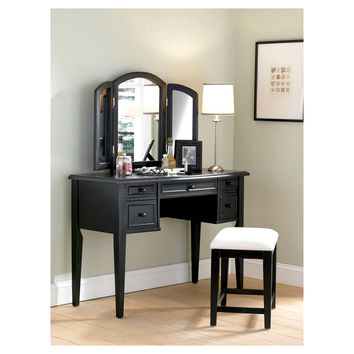 Powell Antique Black with Sand Through Terra Cotta Vanity, Mirror & Bench