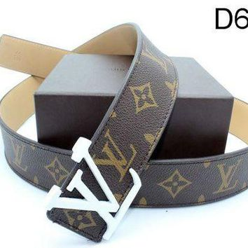 LV Stylish Unisex Smooth Buckle Belt Logo Print Leather Belt I