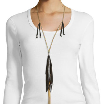Long Necklace W/ Tassels, Black - Johnny Was Collection